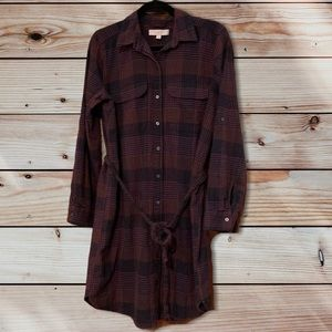 LOFT Eggplant & Black Plaid Button Down Dress-L